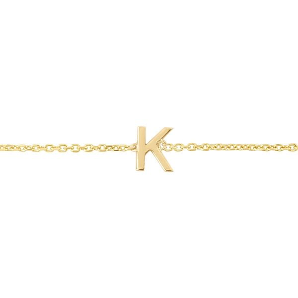 yellow gold initial bracelet
