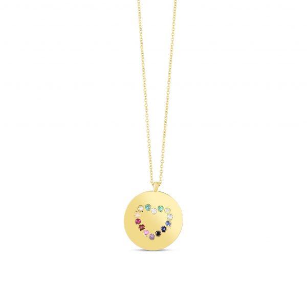 Rainbow Heart Medallion Necklace