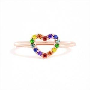 Rainbow Heart Ring
