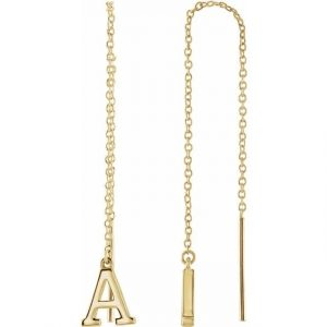 Gold Initial Chain Drop Earrings