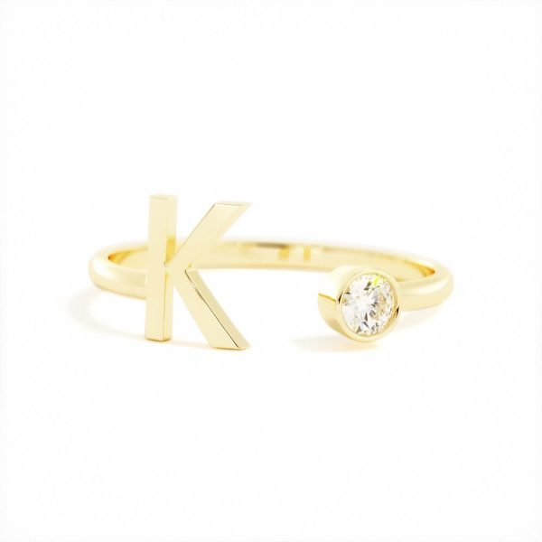 Initial Birthstone Ring