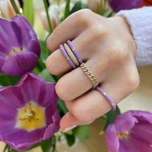 3 Diamond Lavender Enamel Stack Ring