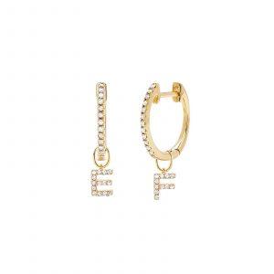Diamond Mini Huggie With Two Diamond Initial Huggie Charms Earring