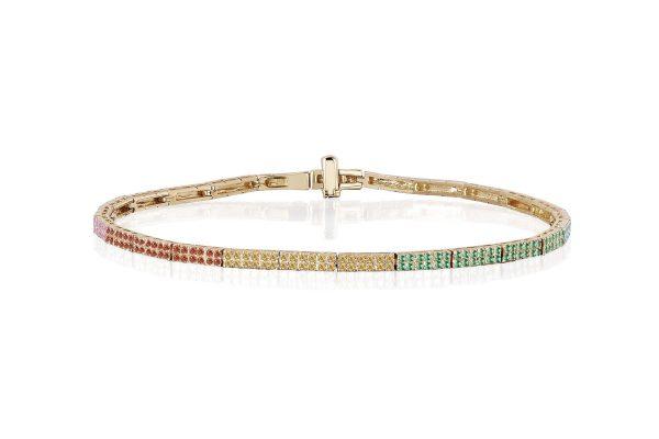 Rainbow Double Row Eternity Bracelet