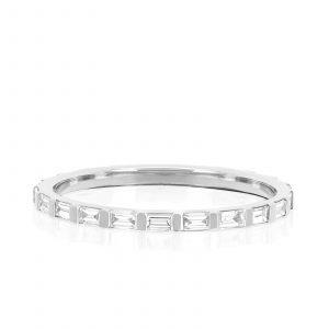 Half Diamond Baguette Eternity Stack Ring