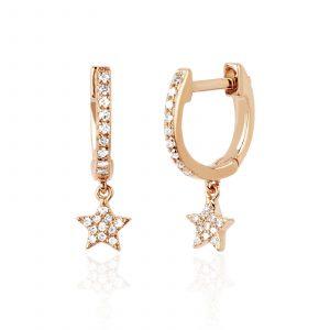 Diamond Mini Huggie With Diamond Star Drop Earring
