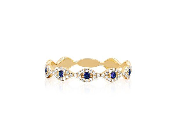 Diamond Blue Sapphire Multi Evil Eye Stack Ring