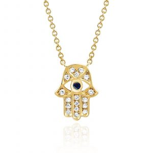 Diamond Hamsa with Blue Sapphire Eye Necklace