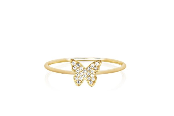 Diamond Butterfly Stack Ring
