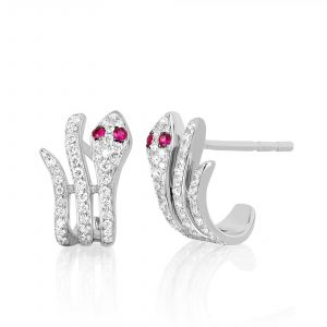 Diamond Snake Earring With Ruby Eyes