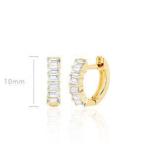 Prong Set Diamond Baguette Huggie Earring