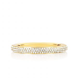 Two Tone Diamond & Turquoise Enamel Band Ring