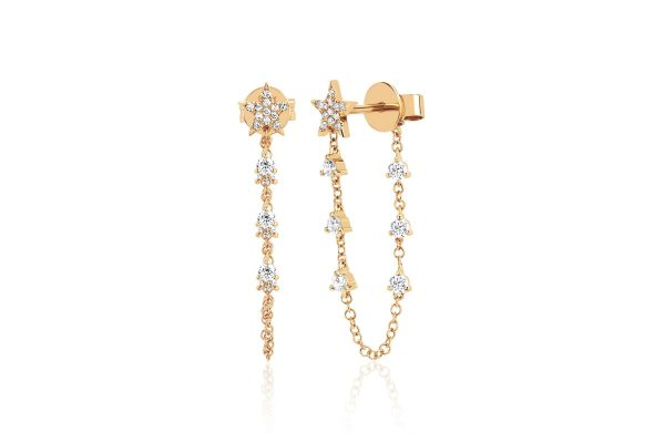 Diamond Star With Prong Set Chain Stud Earring