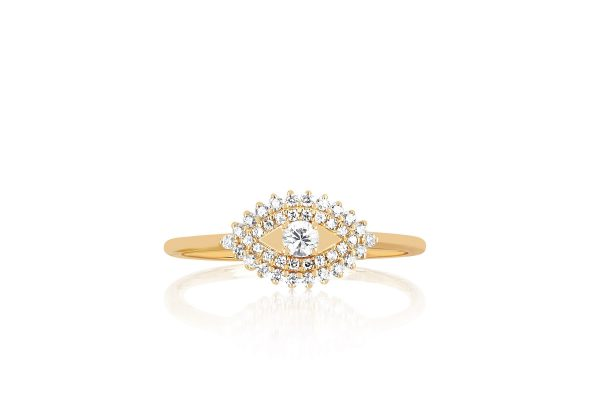 Prong Set Diamond Evil Eye Ring
