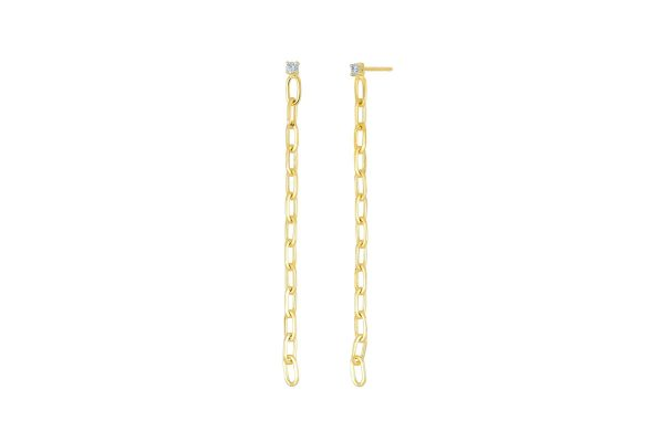 Diamond and Gold Link Drop Earrings
