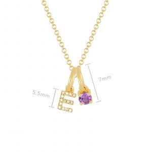 Amethyst Birthstone Initial Charm Necklace