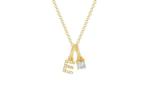 Aquamarine Birthstone Initial Charm Necklace