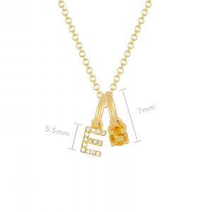 Citrine Birthstone Initial Charm Necklace