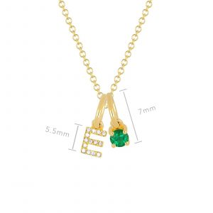 Emerald Birthstone Initial Charm Necklace