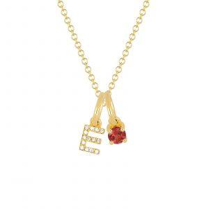 Garnet Birthstone Initial Charm Necklace