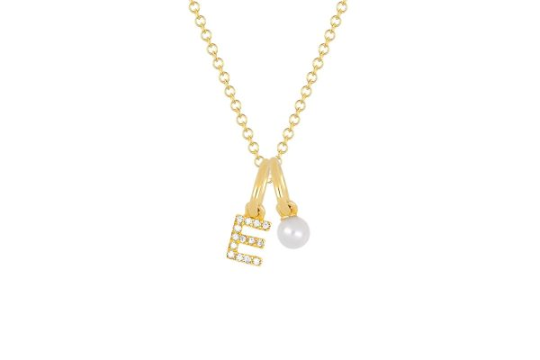 Pearl Birthstone Initial Charm Necklace