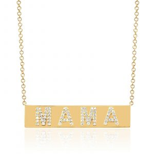 Diamond Mama Nameplate Necklace