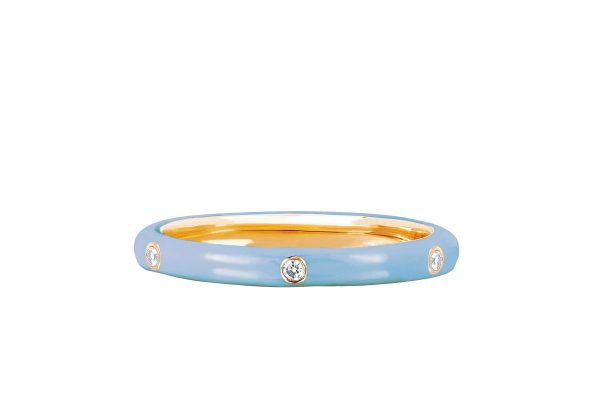 3 Diamond Baby Blue Enamel Stack Ring