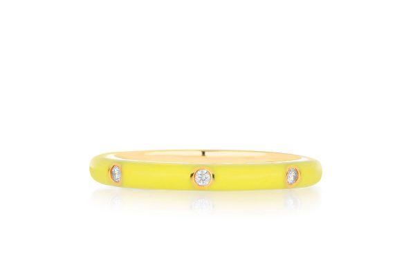 3 Diamond Yellow Enamel Stack Ring