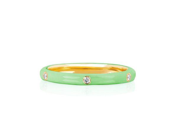 3 Diamond Mint Enamel Stack Ring