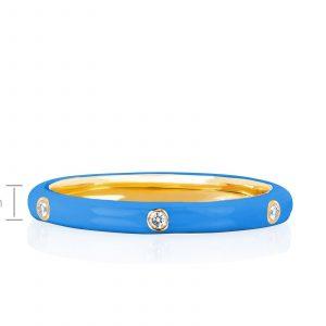 3 Diamond Blue Enamel Stack Ring