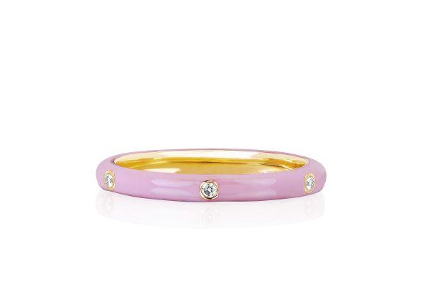 3 Diamond Light Pink Enamel Stack Ring