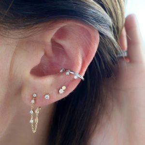 Prong Set Diamond Chain Stud Earring