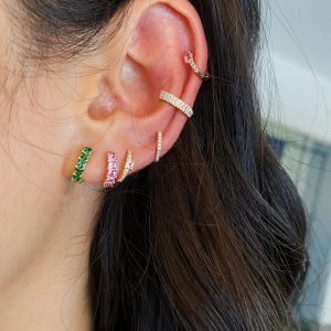 Tsavorite Princess Mini Huggie Earring