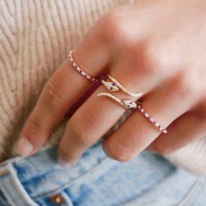 Diamond Snake Ring With Ruby Eyes
