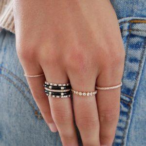 3 Sided Diamond Eternity Band Ring
