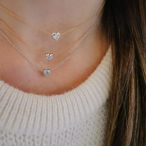 Full Cut Diamond Heart Choker Necklace