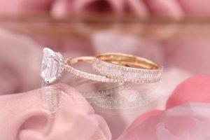 hidden halo diamond engagement ring and wedding band