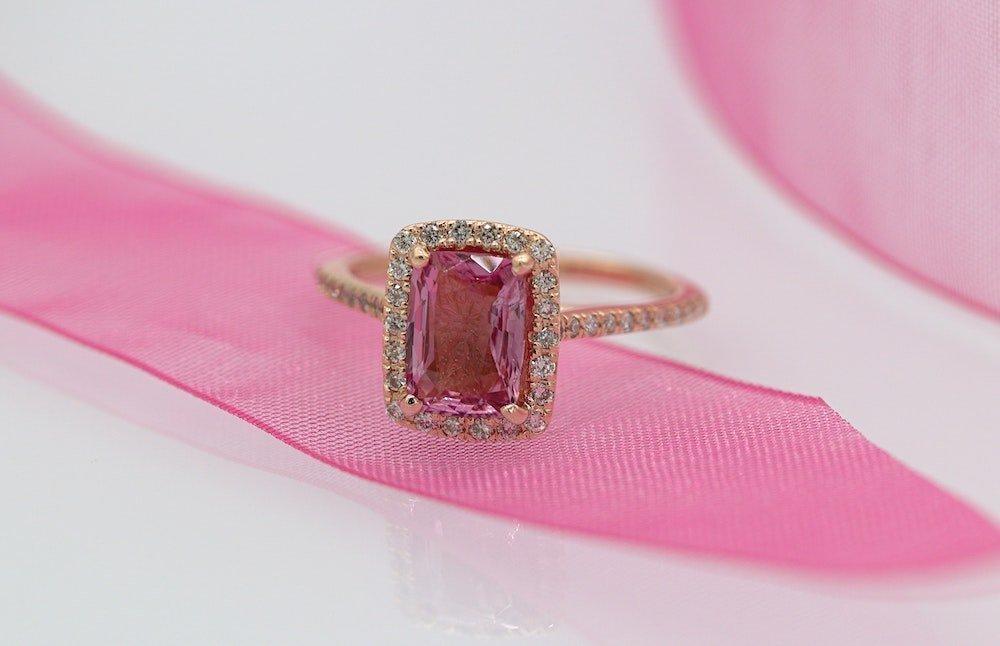 cushion cut pink sapphire rose gold band